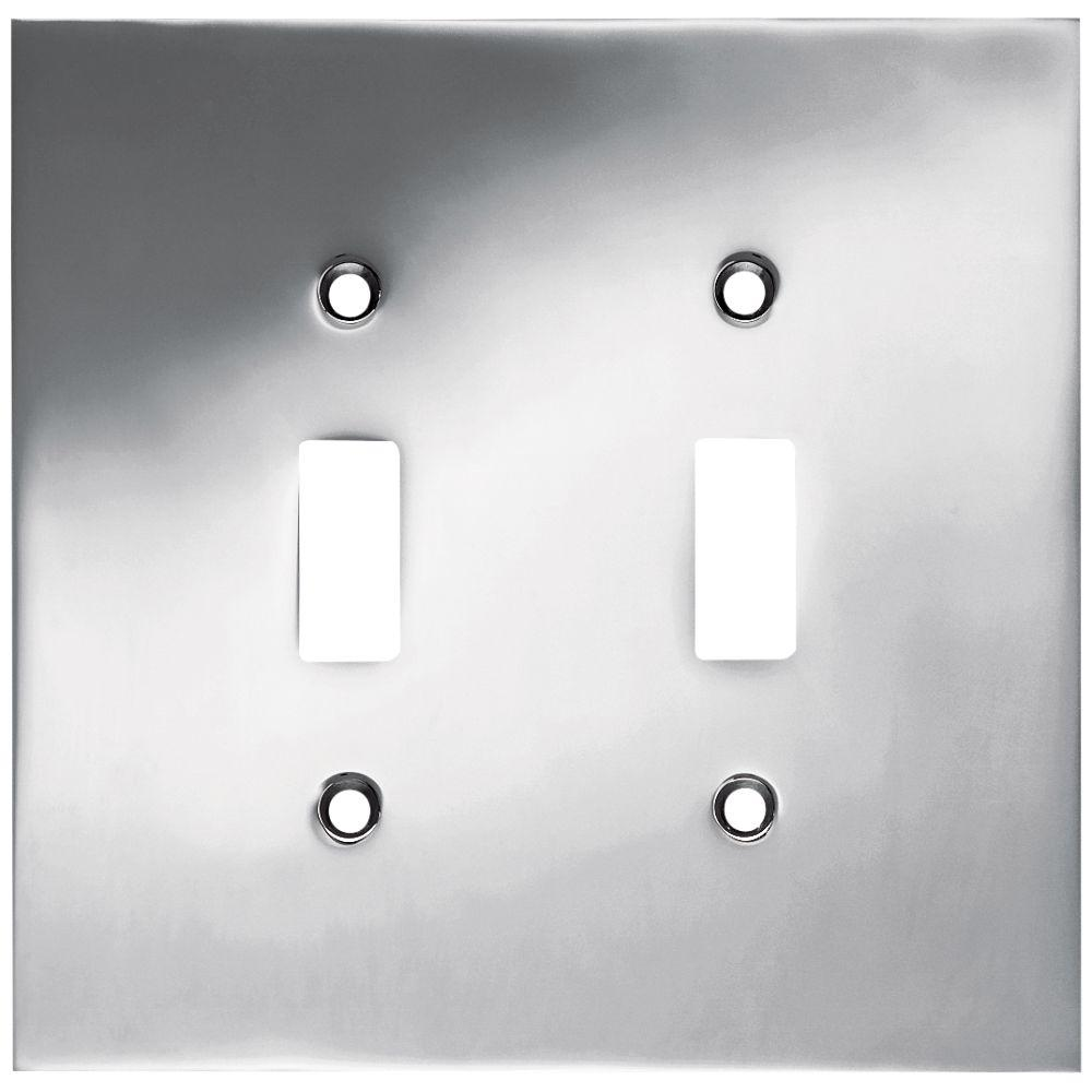 Liberty Chrome 2-Gang Toggle Wall Plate (1-Pack)