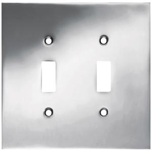 Concave Decorative Double Switch Plate, Polished Chrome