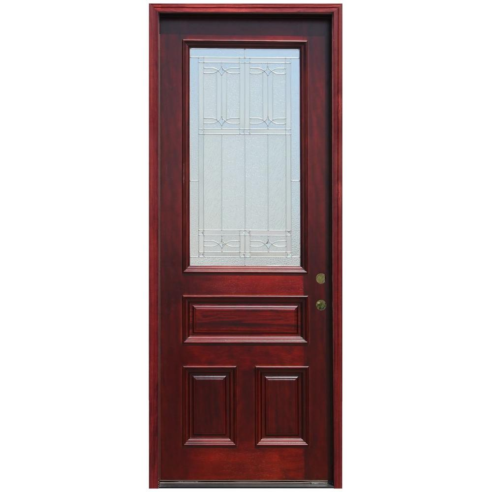 Pacific Entries 36 in. x 96 in. Traditional 3/4 Lite Stained Mahogany Wood Prehung Front Door with 8 ft. Height Series