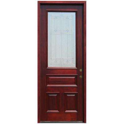 Traditional 3/4 Lite Stained Mahogany Wood Prehung Front Door with 8 ft. Height Series