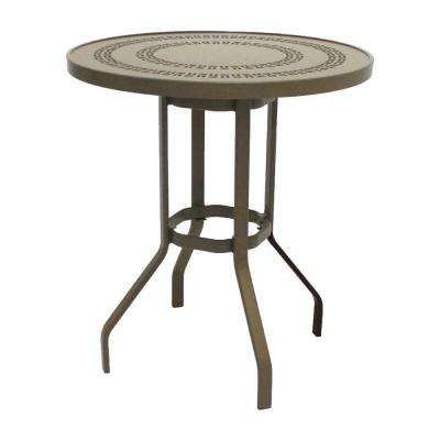 Marco Island 36 in. Brownstone Round Commercial Aluminum Bar Height Patio Dining Table