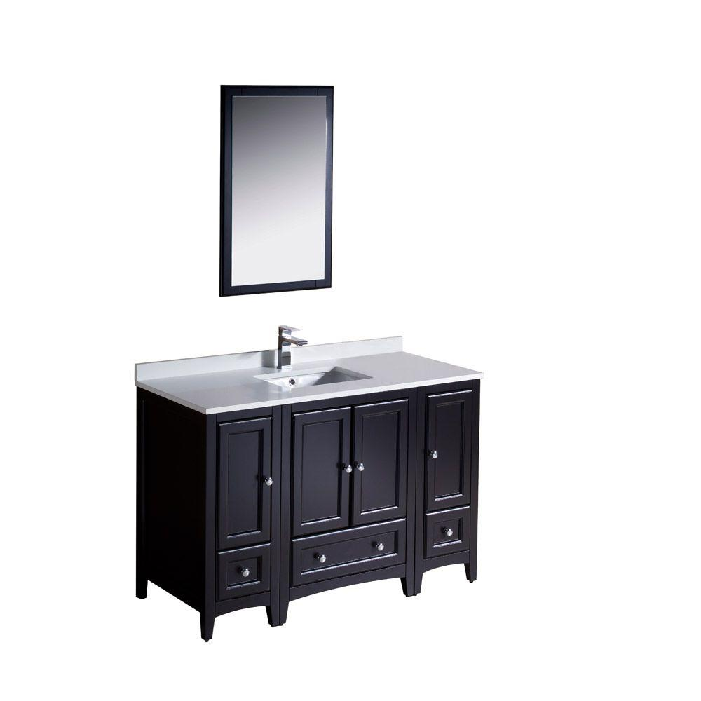Fresca Oxford 48 in. Vanity in Espresso with Ceramic Vanity Top in White with White Basin and Mirror