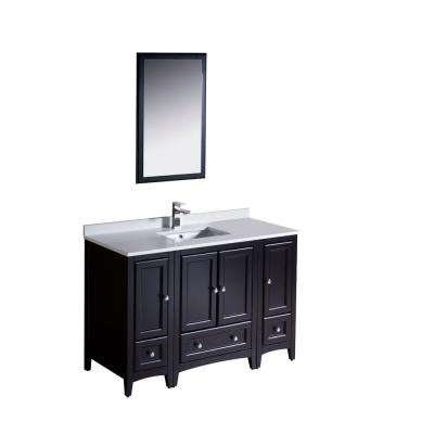Oxford 48 in. Vanity in Espresso with Ceramic Vanity Top in White with White Basin and Mirror