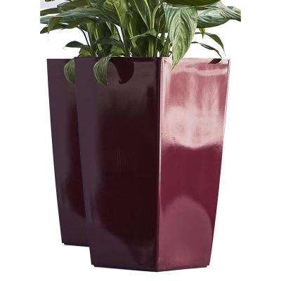 Xbrand 22 in. Tall Red Nested Plastic Self Watering Indoor/Outdoor Square Planter Pot (Set of 2)