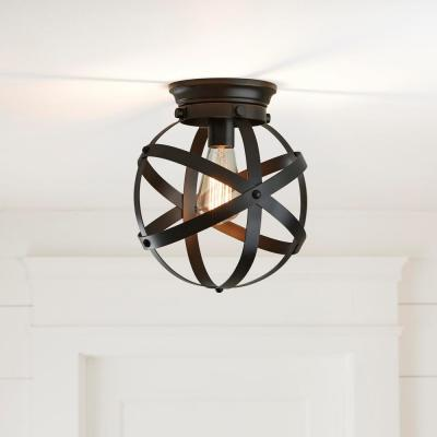 1-Light Satin Bronze Flush Mount