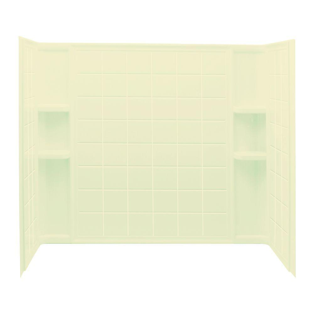STERLING Ensemble Tile 33-1/4 in. x 60 in. x 55-1/4 in. Three Piece Direct-to-Stud Tub and Shower Wall Set in Almond-DISCONTINUED