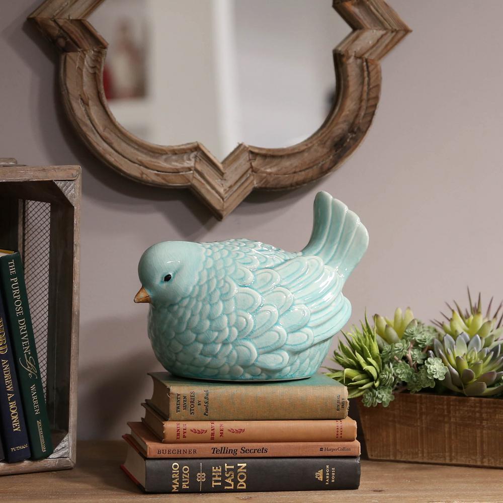 9 in. H Bird Decorative Figurine in Blue Gloss Finish