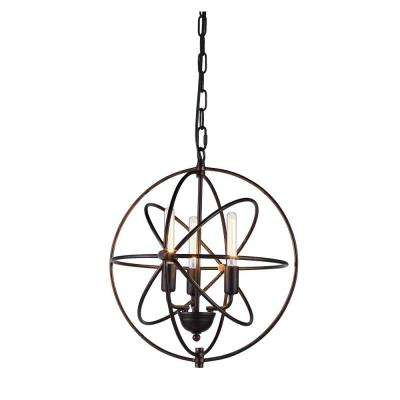 Vienna 3-Light Dark Bronze Pendant Lamp