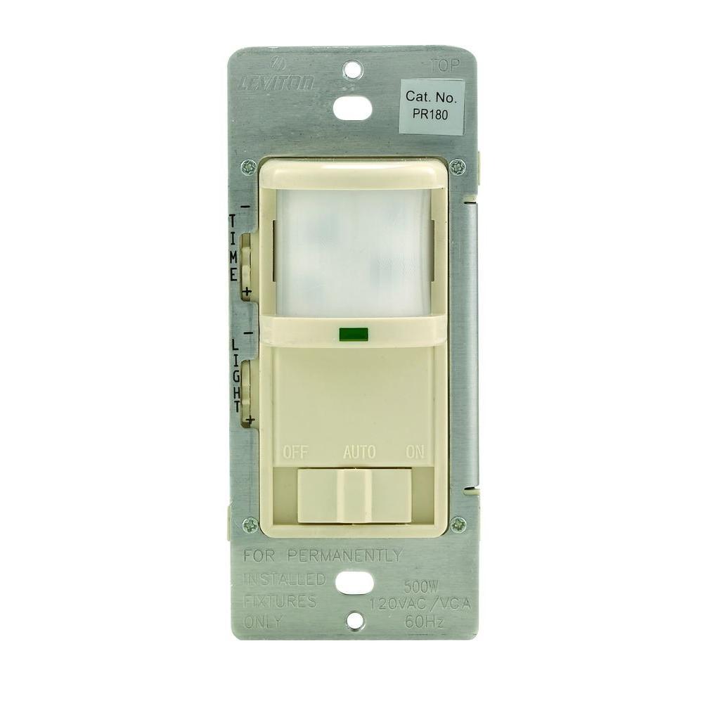 leviton 500 watt 180° occupancy sensor, light almond r58 pr180 1lt