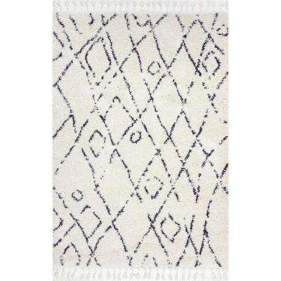 Nieves Moroccan Diamond Tassel Off White 7 ft. x 9 ft. Area Rug