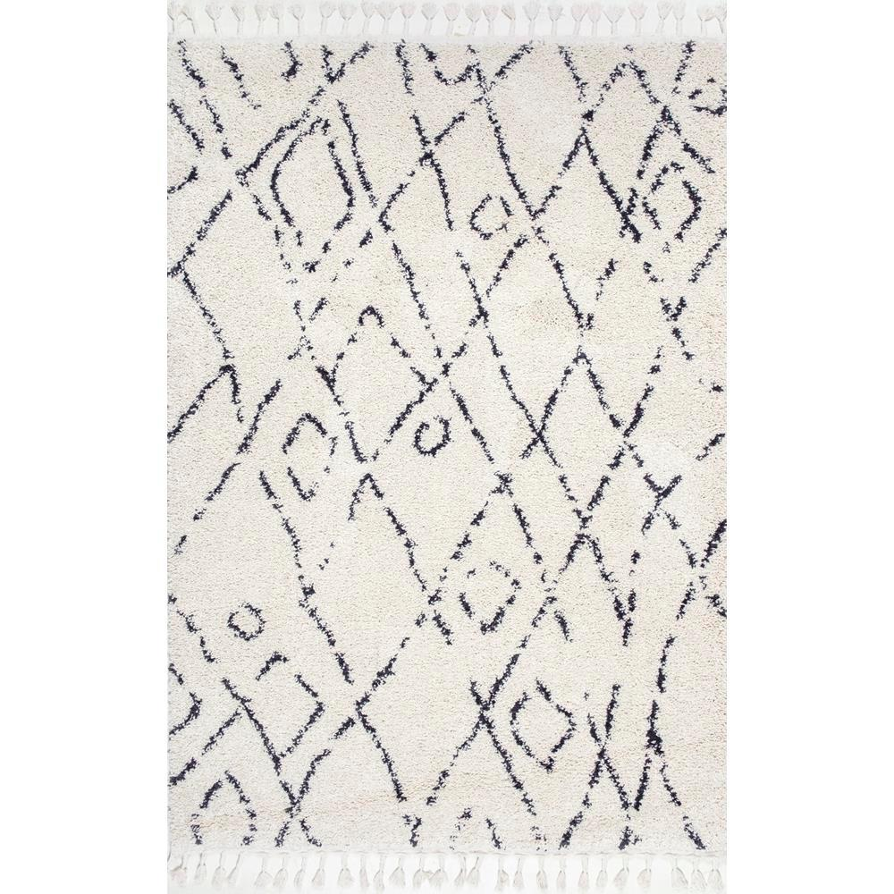 Nieves moroccan diamond tassel off white 8 ft x 10 ft area rug