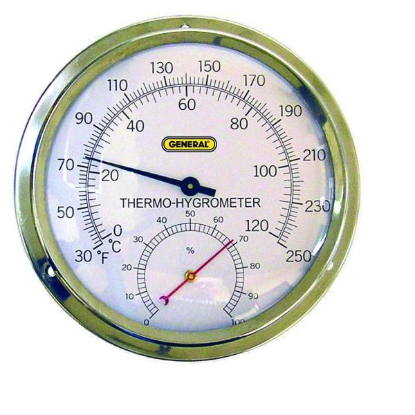 Indoor Analog Thermo-Hygrometer with 5 in. Dial and Stainless Steel Case