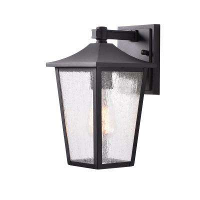 1-Light Black Aluminum Outdoor Wall Lantern Sconce with Seeded Glass