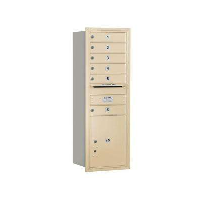 3700 Series 48 in. 13 Door High Unit Sandstone Private Rear Loading 4C Horizontal Mailbox with 6 MB1 Doors/1 PL5