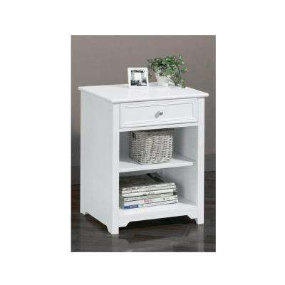 Oxford White 1-Drawer End Table