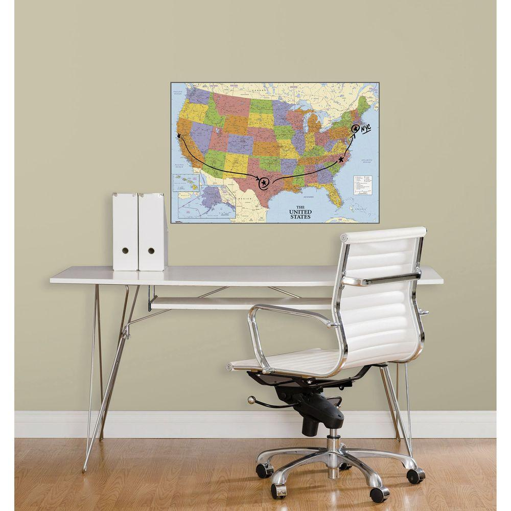 27 in. USA Map Dry Erase Peel and Stick Giant Wall