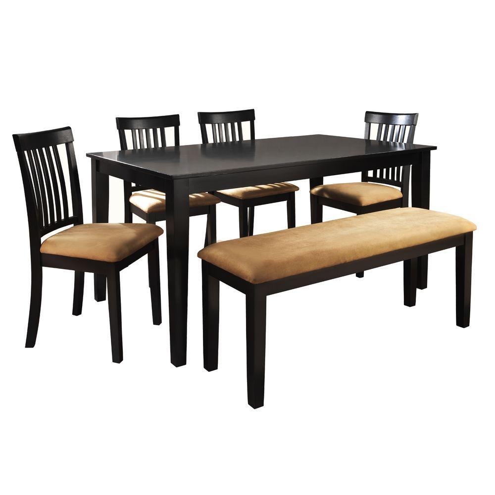 HomeSullivan 6 Piece Black Dining Set 40122D200W6PC715W  : black homesullivan dining room sets 40122d200w 6pc 715w 641000 from www.homedepot.com size 1000 x 1000 jpeg 54kB