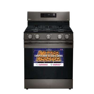 5.8 cu. ft. Smart Wi-Fi Enabled Fan Convection Gas Single Oven Range with AirFry and EasyClean in Black Stainless Steel