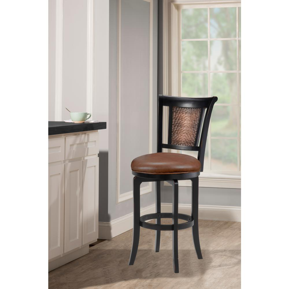 Hilale Furniture Cecily 30 5 In Distressed Black Honey Swivel Bar Stool 4887 830s The Home Depot