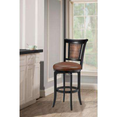 Cecily 30.5 in. Distressed Black Honey Swivel Bar Stool