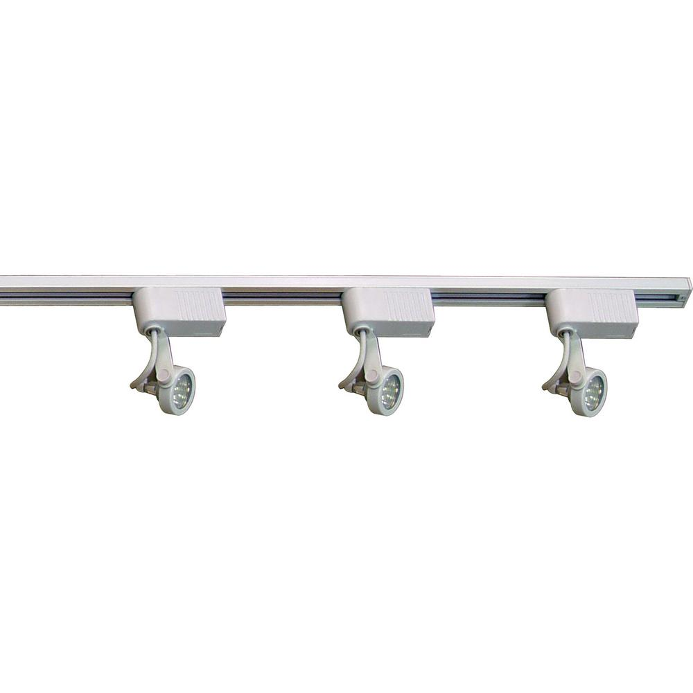 Volume Lighting 4 Ft 3 Light Indoor White Track Kit With Low Voltage Adjule Small Gimbal Ring Heads