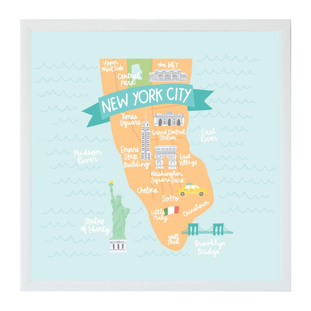 State Map Of New York.Petal Lane Board Alexa New York State Map Art Board White Frame