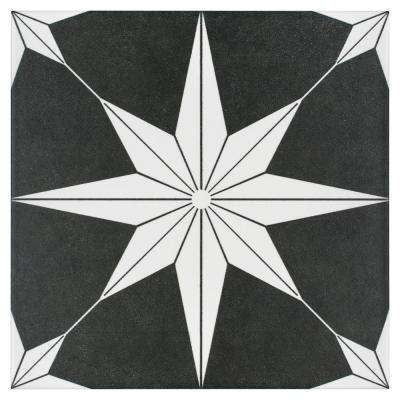 Stella Night Encaustic 9-3/4 in. x 9-3/4 in. Porcelain Floor and Wall Tile (11.11 sq. ft. / case)