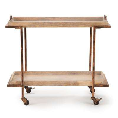 Conway Serving Cart - Mango and Copper with Casters