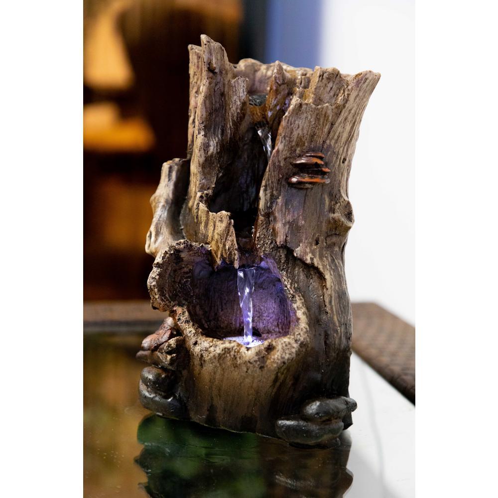 12 in. Rainforest Tree Trunk Tabletop Fountain
