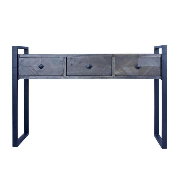 Shelly 31.5 in. Matt Grey Solid Wood Console Table