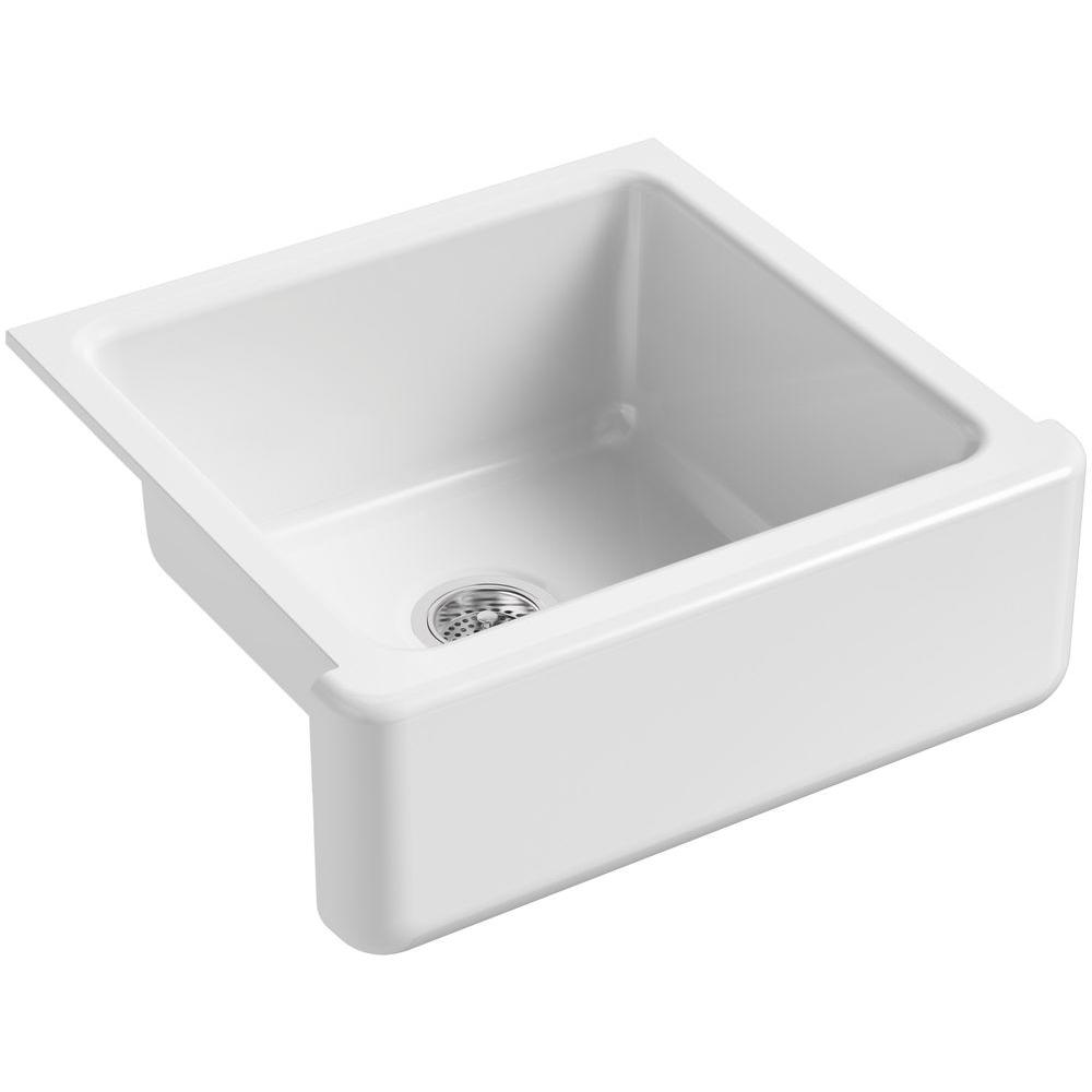 KOHLER Whitehaven Farmhouse Apron-Front Cast Iron 24 in. Single Bowl ...