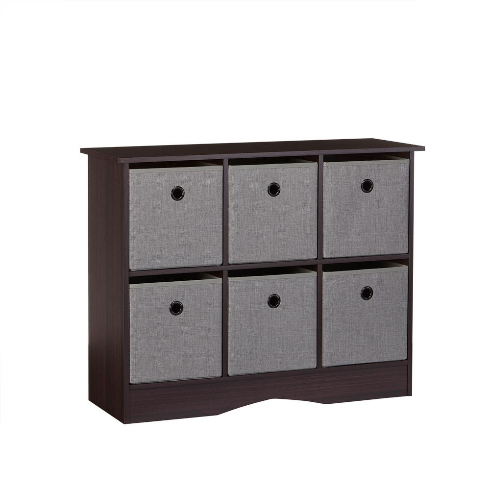 Riverridge Home 6 Cubby Storage Cabinet With Bins In Espresso Gray