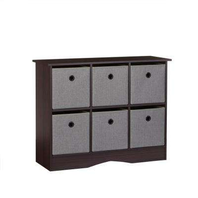 6-Cubby Storage Cabinet with Bins in Espresso/Gray
