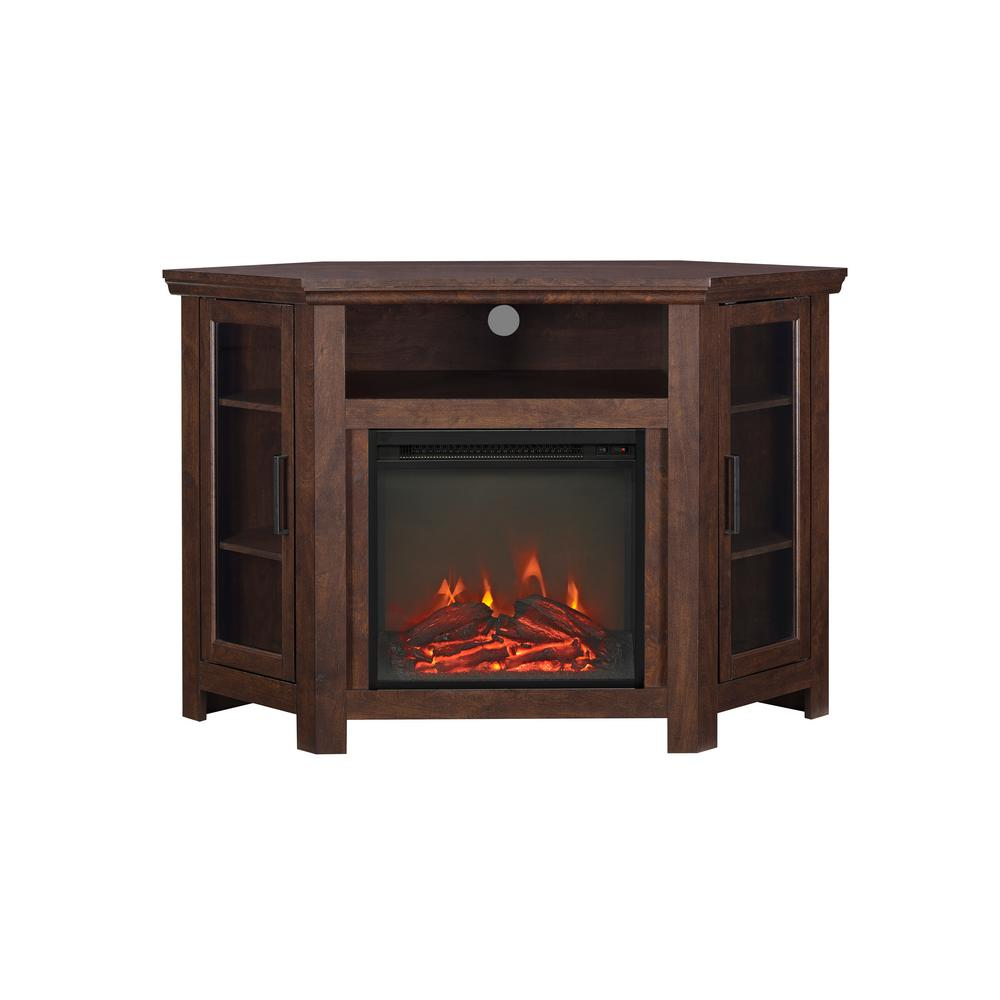 Walker Edison Furniture Company Traditional Brown Fireplace Corner Fireplace Entertainment Center was $429.31 now $297.36 (31.0% off)