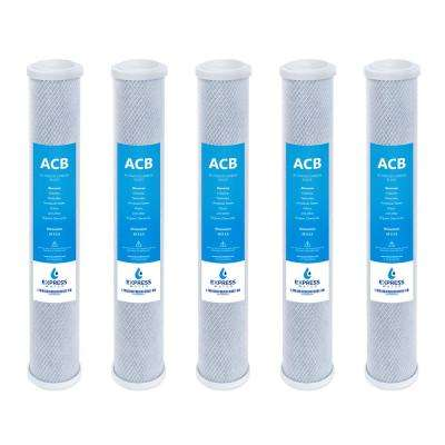 2.5 x 20 in. Activated Carbon Block Replacement Filter Cartridge Big Blue Water Filter Whole House 5 Micron (5-Pack)