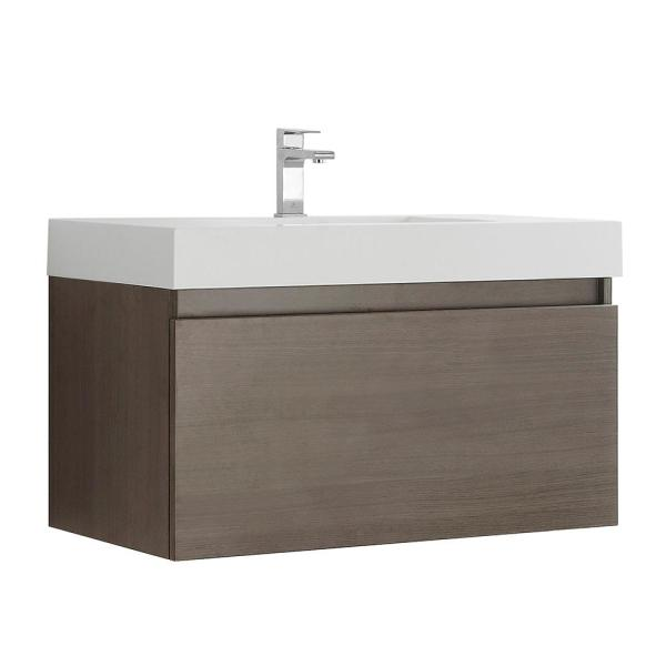 Mezzo 36 in. Modern Wall Hung Bath Vanity in Gray Oak with Vanity Top in White with White Basin