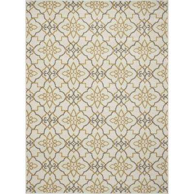 New Casa Trellis Ivory/Yellow 3 ft. x 4 ft. Area Rug