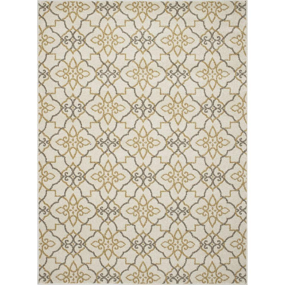 New Casa Trellis Ivory/Yellow 5 ft. 3 in. x 7 ft.