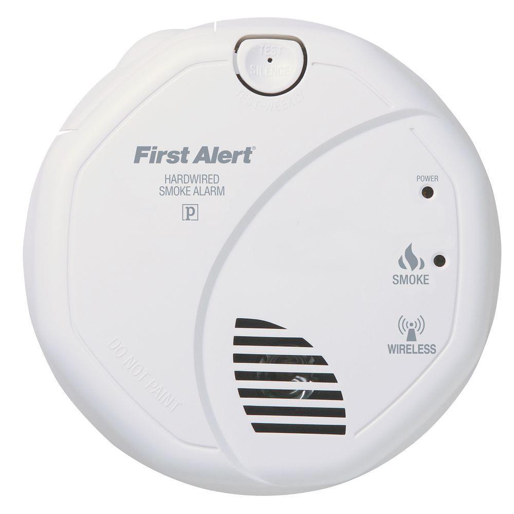 120-Volt AC Wireless Smoke Detector with Photo-Electric Sensor