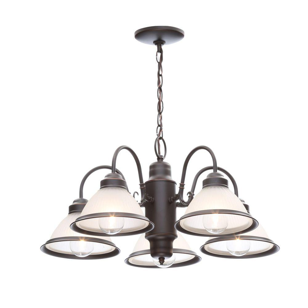 Hampton bay halophane 5 light oil rubbed bronze chandelier with hampton bay halophane 5 light oil rubbed bronze chandelier with frosted ribbed glass shades aloadofball Gallery