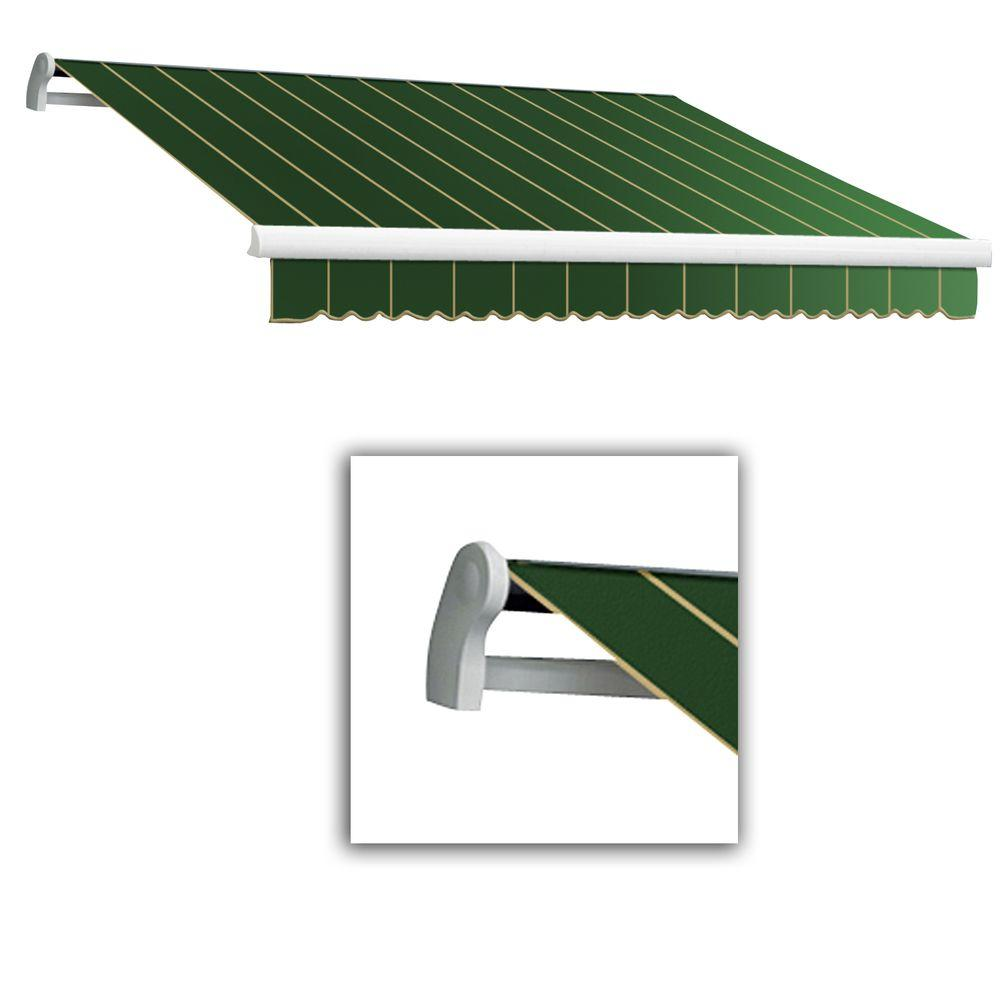AWNTECH 8 ft. LX-Maui Right Motor with Remote Retractable Acrylic Awning (84 in. Projection) in Forest Pin