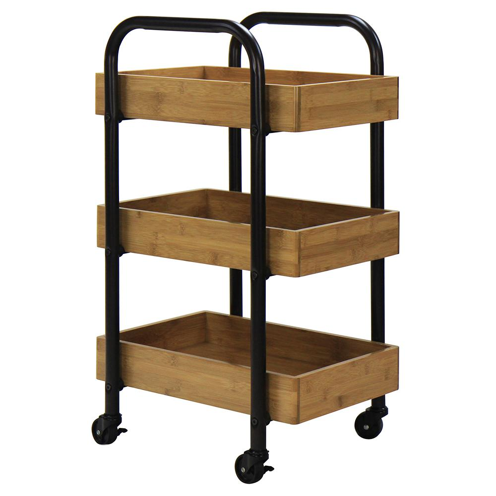 Ordinaire Oceanstar 3 Tier Metal Wheeled Portable Storage Cart With Removable Bamboo  Trays