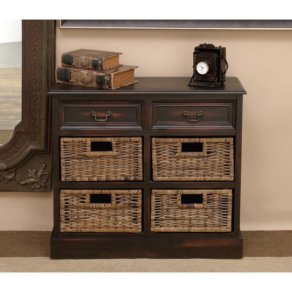 28 in. Walnut Wooden Cabinet with 4-Wicker Baskets
