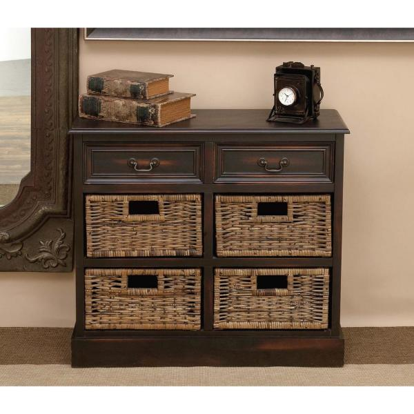 Litton Lane 28 In Walnut Wooden Cabinet With 4 Wicker Baskets 96253