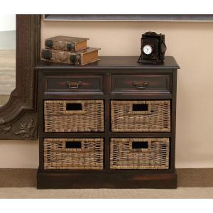 Superior Walnut Wooden Cabinet With 4 Wicker Baskets 96253   The Home Depot