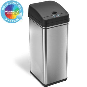 13 Gal. Touchless Sensor Trash Can with AbsorbX Odor Filter System, Stainless Steel, Wide Lid Opening, for Home, Office