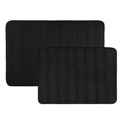 31 in. x 24.5 in. and 20.25 in. x 17 in. Hydro Grip Memory Foam Bath Mat in Black