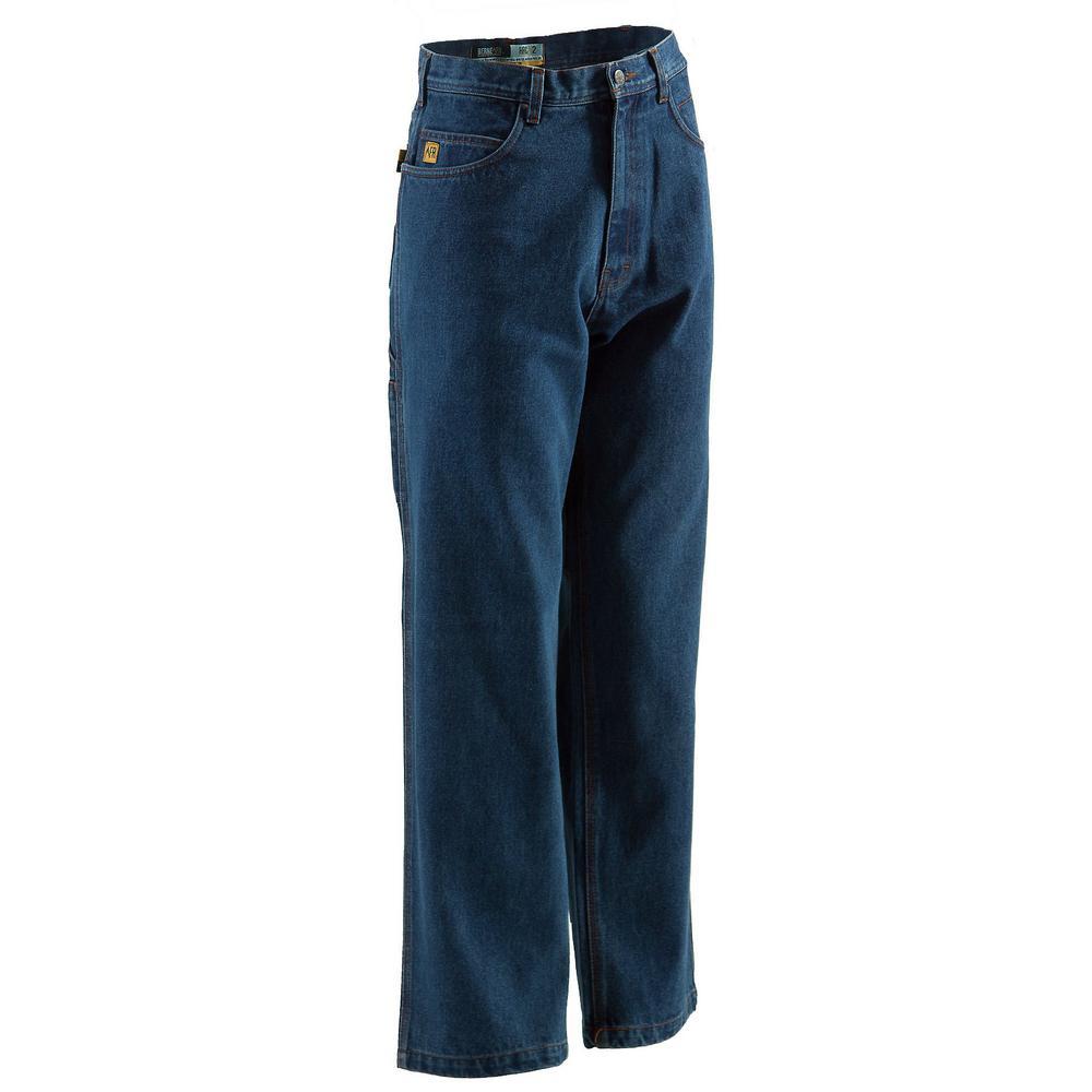 Men's 30 in. x 42 in. Stone Wash Dark FR Carpenter Jeans