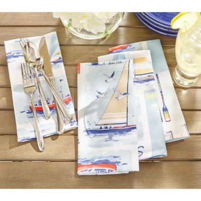 17 in. W x 17 in. L Sail Away Stain Resistant Indoor Outdoor Napkins (Set of 8)