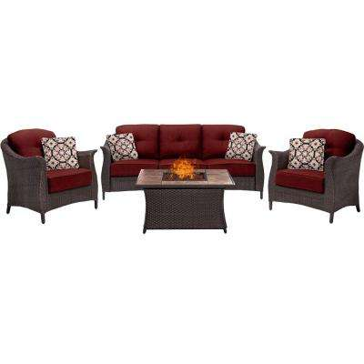 Gramercy 4-Piece Woven Patio Seating Set with Tile-Top Fire Pit and Crimson Red Cushions